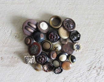 Vintage Buttons - Assortment of Brown Shank