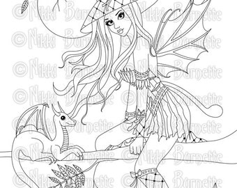 Digital Stamp - Printable Coloring Page - Fantasy - Fairy Stamp - Adult Coloring Page - Rowenia Version 2 - by Nikki Burnette - PERSONAL USE