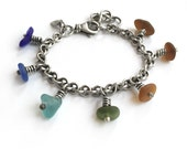 Rainbow Seaglass Beach Glass Sterling Silver Oxidized Vintage Cable Chain Bracelet