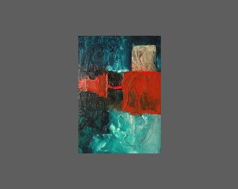 Mini painting original oil 7 x 5 inches, teal, viridian, warm red