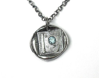 Wax Seal Initial Necklace with Birthstone - Fine Silver on Sterling Silver Necklace Chain - MADE TO ORDER