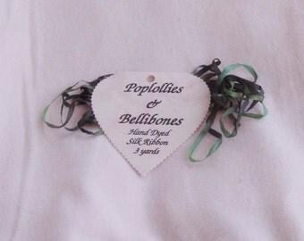 Ribbon, Ivy, 4mm, 3 yards, handdyed silk, Poplollies & Bellibones, C, destash