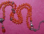 Hand knotted natural carnelian, Swarovski crystal and Bali sterling silver beaded necklace