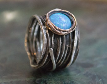 Bohemian ring, opal ring, hippie ring, boho ring, Silver Gold ring, unique engagement ring, Gypsy ring - Imagine life in peace 2 R1505G
