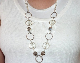 White Rings Chain Fashion Women's Beaded Lanyard 34 inches, Key and badge holder