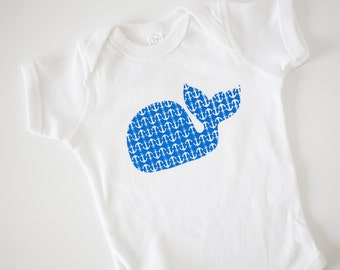 whale anchor baby onesie