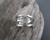Sunfish Sterling Silver Handmade Double Band Ring