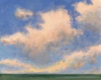 Original Landscape 8x8 Painting on Canvas Cloudy Sky Clouds Calm Ocean Water Sea Modern Art