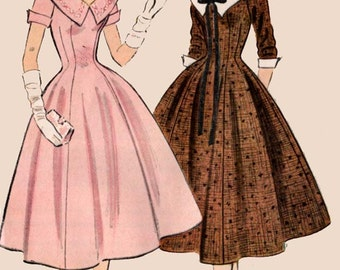1950s Princess Dress w/ Deep V Neckline and Wide Collar McCalls 9956 Vintage 50s Sewing Pattern Size 16 Bust 34 UNCUT