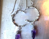 Crescent Moon at Twilight Amethyst Crystal Earrings