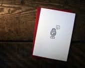 Letterpress Robot Hello Card - Single
