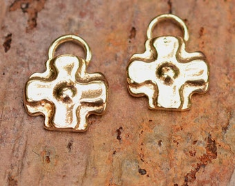Two Santa Fe Square Dotted Cross Charms in Gold Bronze