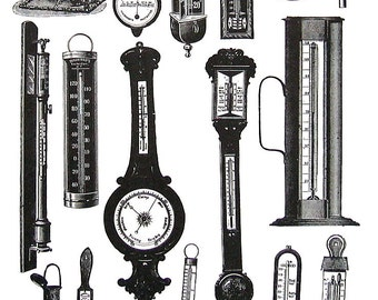 Thermometers, Barometers, Hydrometers - 1968 Vintage Book Page - 10 x 7