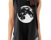 Full MOON Luna Cap Sleeve Cotton Muscle Tee shirt Alternative Apparel