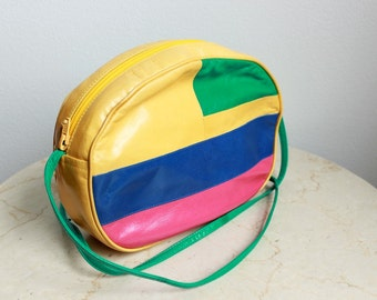 Vibrant Leather Oval Purse, Pop Art Style, Color Block, Buttery Leather, Vintage