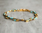Drift Necklace - Hand Knotted with Tiny Gold & Turquoise Beads