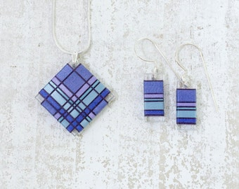 Periwinkle Steal Thread Wrapped Fiber Jewelry with Deep Lavender and Steal Blue toned Accents