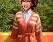 vintage 70's cardigan sweater space dye boho women's knit wrap belt Small XS stripe