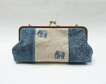 Clutch bag, indigo blue and cream, elephant design, cotton handbag