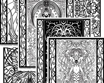 Sacred Beauty Coloring Book; Digital Download Edition, Adult Coloring Book, Digital Coloring Pages, Printable Coloring Pages
