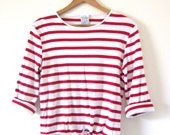 Vintage 80s 90s Red and White Striped Tie Front Crop Top