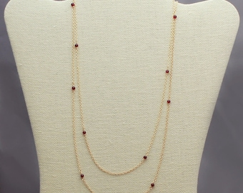 Very Long Red Garnet Necklace, Rhodolite Garnet, Gold, Rose Gold Filled or Silver, Long Layered Gold Necklace