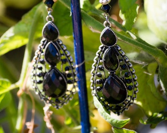 Gothic Black and Silver Chandelier Earrings