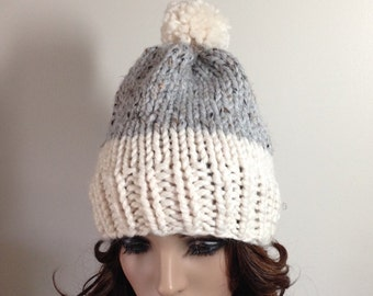Slouchy Knit Hat - Women's Hat Bobble Beanie Chunky Hat - Pom Pom Hat - Fair Isle Hat - Cream with Gray Marble - THE NAPLES