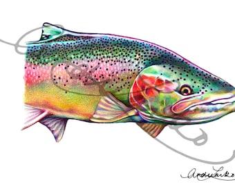 """Colored Pencil Steelhead Fish Art Print 8.5""""x11"""""""