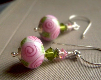 Floral Lampwork Earrings, Sterling Silver, Pink Flower Earrings, Pink Artisan Glass Lampwork Dangle Earrings, Rosebud Earrings