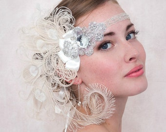 Ivory Nymph Peacock Feather Flapper Headband Great Gatsby Style 1920s