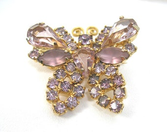 Weiss Butterfly Brooch, Lavender Pink Rhinestones Pin, Designer Signed, Vintage c1960s, Frosted, Open-back, Prong-set Stones, Minty