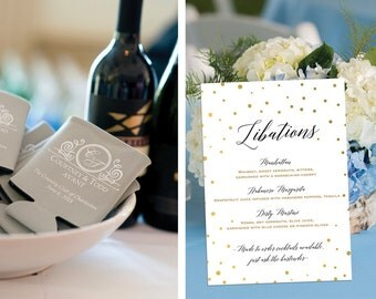 PRINTABLE - Gold Wedding Decor, Black & Gold Party Decor, Wedding Menu, Wedding Drink Menu, Wedding Bar Menu, Cocktails, His and Hers