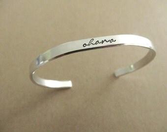 Ohana Bracelet - Family Cuff Bracelet - Skinny 1/5 inch
