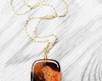 Pendant Necklace, Agate Stone Necklace, Rust Agate Stone, Natural Stone, For Her, Healing Stone, Treasure Agate Stone Pendant Necklace