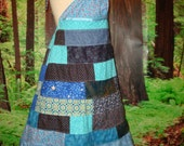 NEW Patchwork Dress Blue Navy Knee Length Retro Summer Sundress Patch Patchy Halter Vintage Hippie Moon Stars Hippy Designer elyse oRiGiNaLs
