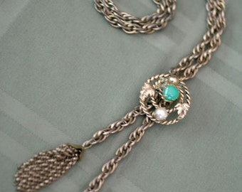 Vintage bolo style lariat tassel necklace with sliding pendant