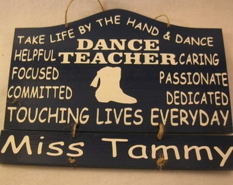 Personalized Wooden Drill Team Dance Teacher Wall Hanging with 2 name plates