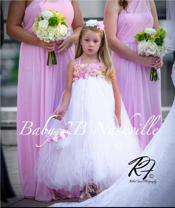 Vintage White Dress Wedding Dress Pink and Gold Dress Flower Girl Dress Deluxe White Dress Baby Dress Tutu Dress Toddler Dress Tulle Dress