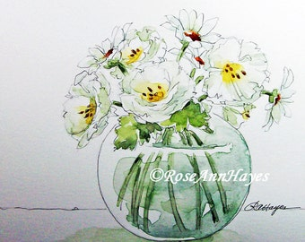 Watercolor Painting White Roses and Daisies Print Flowers Floral Garden Bouquet