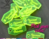 CUSTOM JEWELRY TAGS - Clear Neon Coffins  - Qty. 50 or 100 - You Choose Your Color
