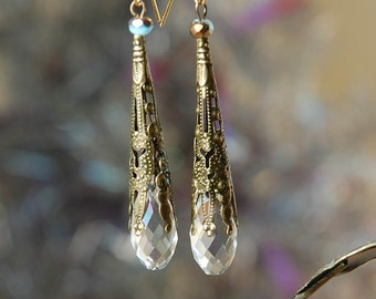 Snow Crystal Earrings, boho, Victorian, Sparkle, Gift for Her