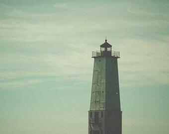 Northern Light . Great Lakes . lighthouse print . beach house art . ocean photography . nautical print . Lake Michigan . blue  turquoise art