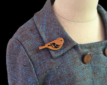 Sweet Little Bird Brooch / Pin - Laser Cut Acrylic or Wood (C.A.B. Fayre Original Design)