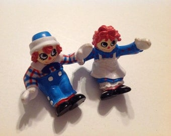 Pair of Vintage Raggedy Ann and Andy Plastic Figures/Dolls