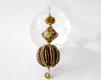Boho Ornament Pendant Sun Catcher Beaded Rear View Mirror Window Decor Harvest Gold Mixed Metals