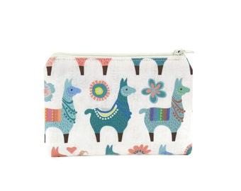 CHOOSE SIZE Llama Zipper Pouch / Adorable Alpaca Make Up Bag / Cute Camera Bag / Pacifier Pouch