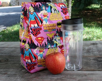 Insulated Lunch Bag Lunch Tote Girl Power Wonder Woman Super Girl Batgirl Made To Order