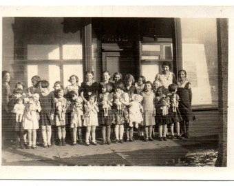 Snapshot Girls with Their DOLLS, Moms, too -Black and White Glossy Photograph