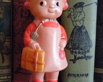 Vintage Celluloid Doll Rattle Child with Suitcase and Umbrella Japan